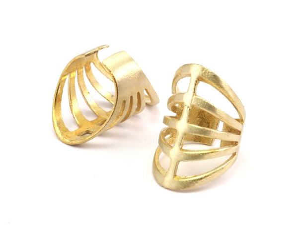 Raw Brass Rib Ring for sale