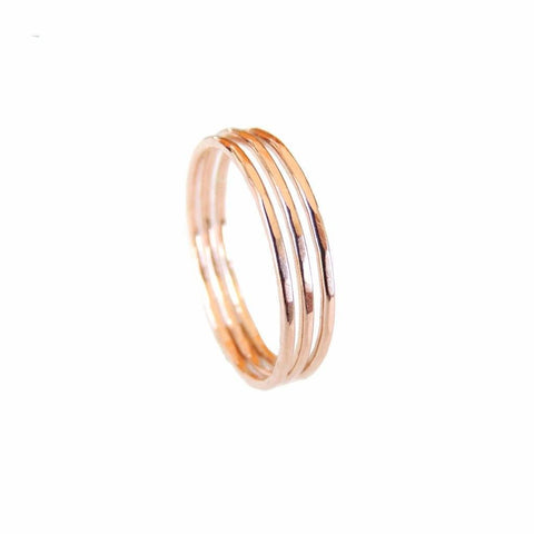 Thin Hammered Rose Gold Filled Ring