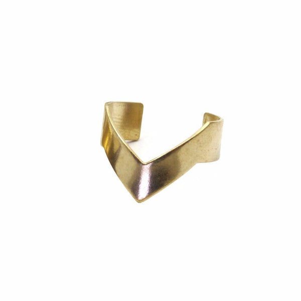Raw brass single chevron ring for sale