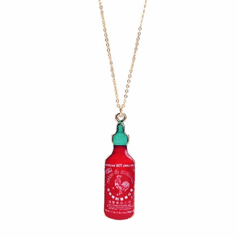 sriracha, sriracha bottle, sriracha necklace, pendant, pendant jewelry, pendant designs, gold plated brass, simple gold necklace, gold accessories, create craft, chain jewelry, crafting, craft online, fancy necklace