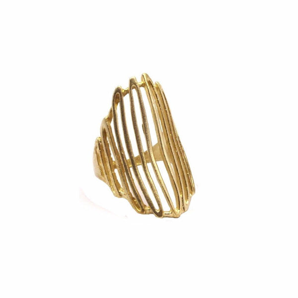 Raw brass web ring