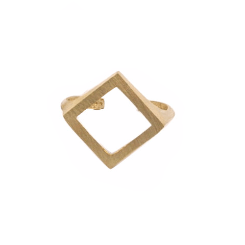Raw brass diamond shape ring