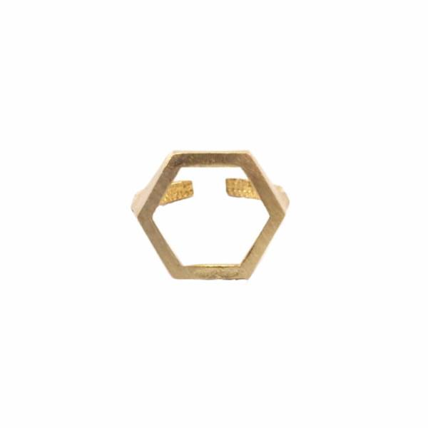 Raw brass cutout hexagon ring