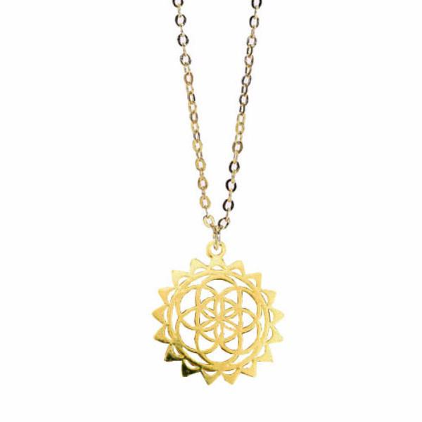 flower of life necklace, seed of life, gold plated pendant, flower design, gold seed of life, golden flower, flower necklace, sacred geometry, gold plated pendant