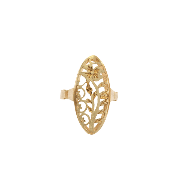 Flower Shield Raw Brass Ring