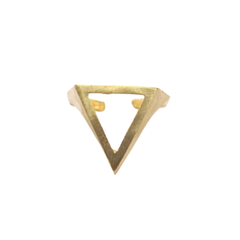 Raw brass cutout triangle ring