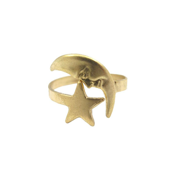 Raw brass moon and star ring