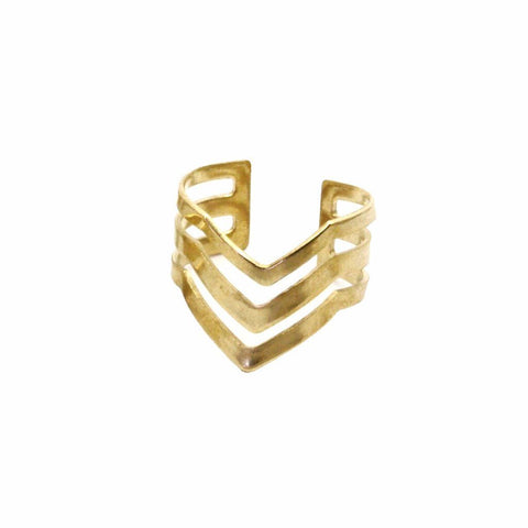 Triple Chevron Ring  WHOLESALE