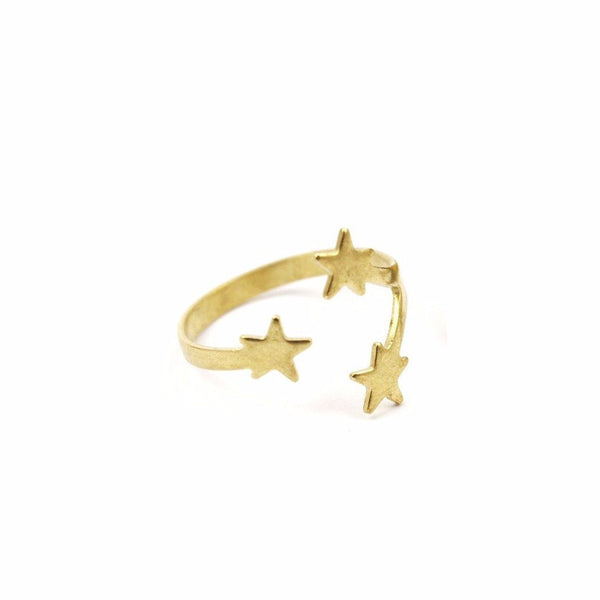gold plated brass star ring