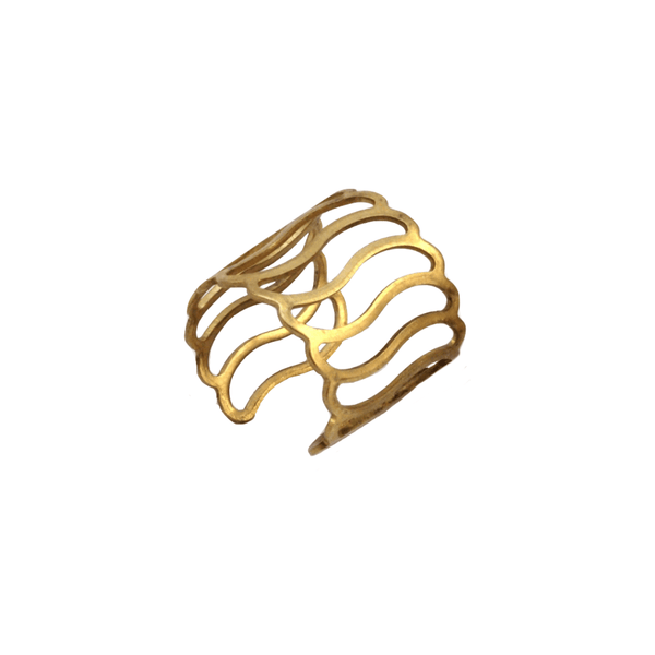 Raw Brass Wave Cage Ring