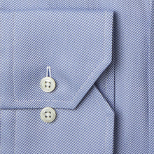 Load image into Gallery viewer, Stenstroms Blue Fitted Body Shirt In Textured Twill (77 Collar)