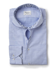 Load image into Gallery viewer, Stenstroms Blue Fitted Body Shirt W Contrast