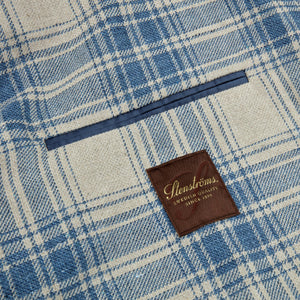 Stenstroms Blue Checked Cotton Linen Blazer