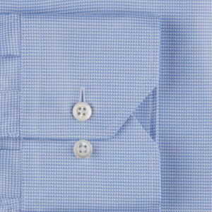 Stenstroms Blue Micro Houndstooth Fitted Body Dress Shirt