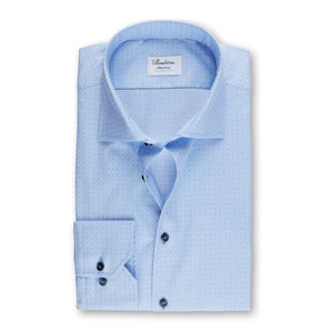 Stenstroms Light Blue Micro Patterned Fitted Body Shirt, Stretch