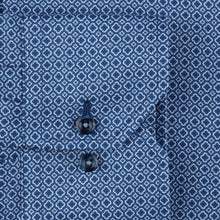 Load image into Gallery viewer, Stenstroms Navy Micro Patterned Fitted Body Shirt, Stretch