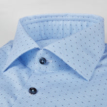 Load image into Gallery viewer, Stenstroms Blue Micro Patterned Fitted Body Shirt