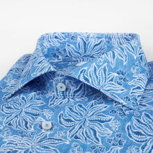 Load image into Gallery viewer, Stenstroms Leaf Patterned Linen Fitted Body Shirt
