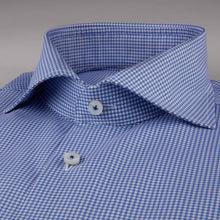 Load image into Gallery viewer, Stenstroms Blue Checked Fitted Body Dress Shirt