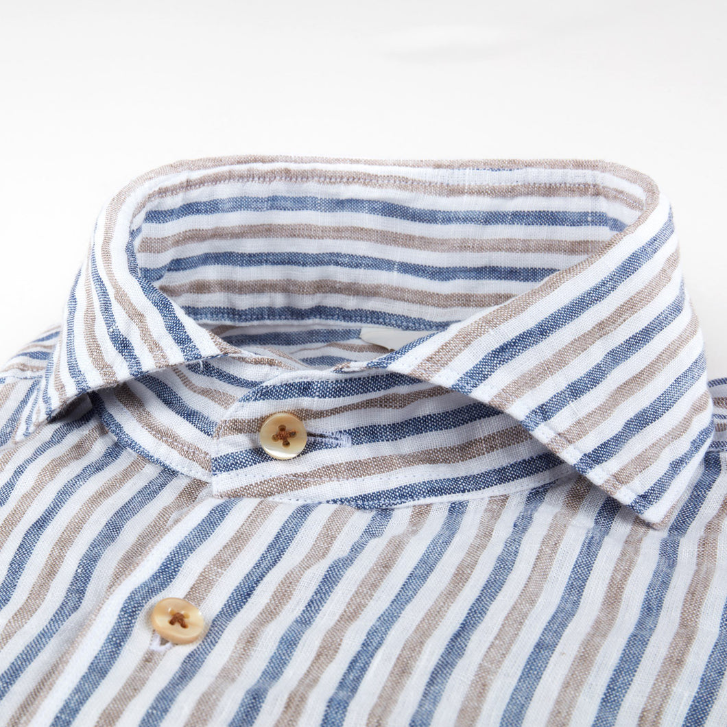 Stenstroms Striped Fitted Body Linen Shirt