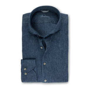 Stenstroms Blue Fitted Body Linen Shirt