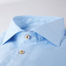 Load image into Gallery viewer, Stenstroms Light Blue Hounds Tooth Fitted Body Sport Shirt