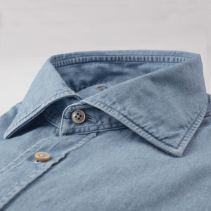 Stenstroms Fitted Body Shirt In Light Denim