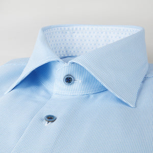 Stenstroms Light Blue Hounds Tooth Fitted Body Dress Shirt