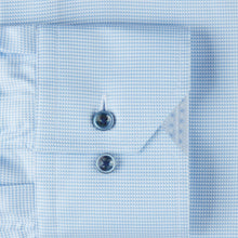 Load image into Gallery viewer, Stenstroms Light Blue Hounds Tooth Fitted Body Dress Shirt