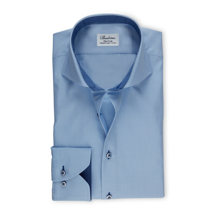 Stenstroms Blue Textured Fitted Body Shirt With Details