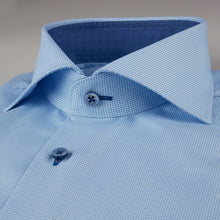 Load image into Gallery viewer, Stenstroms Blue Textured Fitted Body Shirt With Details