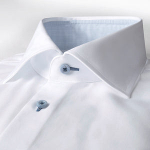 Stenstroms White SLIMLINE Shirt With Blue Contrast Details