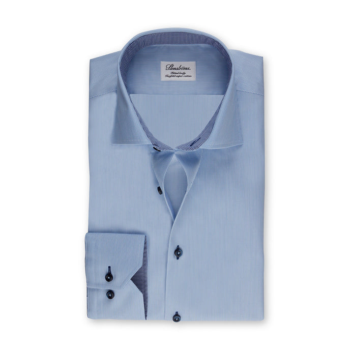 Stenstroms Blue Striped SLIMLINE Shirt With Contrast Details