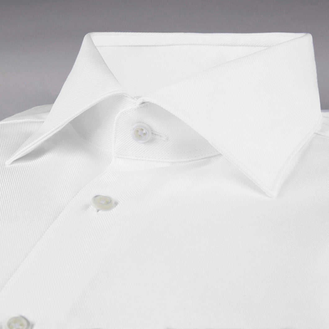 Stenstroms White Fitted Body Shirt In Textured Twill (77 Collar)