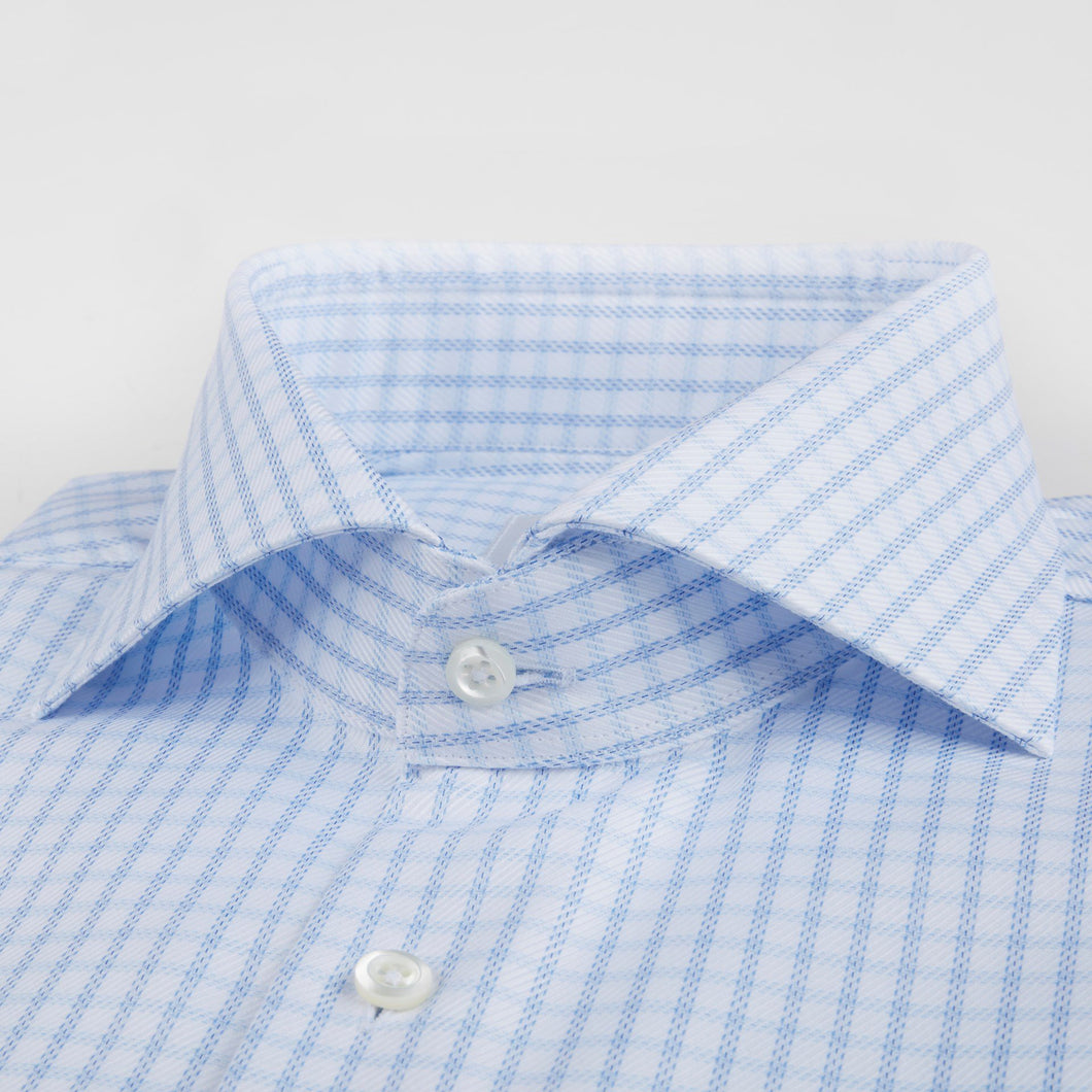 Stenstroms White and Blue Check Fitted Body Dress Shirt (Not French Cuff)