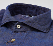 Load image into Gallery viewer, Stenstroms Navy Melange SLIMLINE Linen Sport Shirt