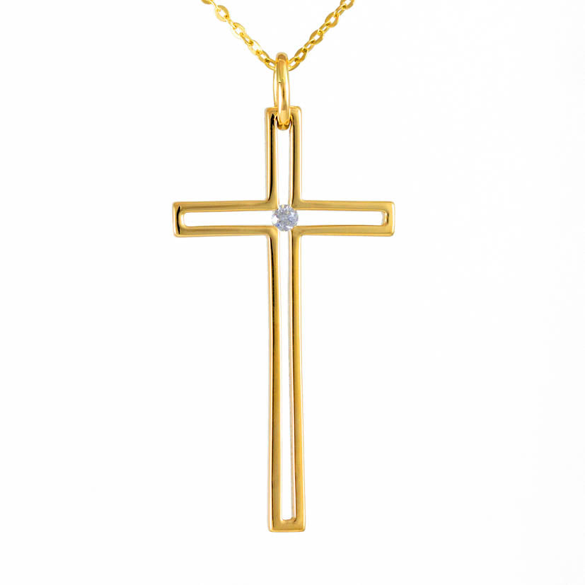 Charm - Cross Outlined with Solitaire
