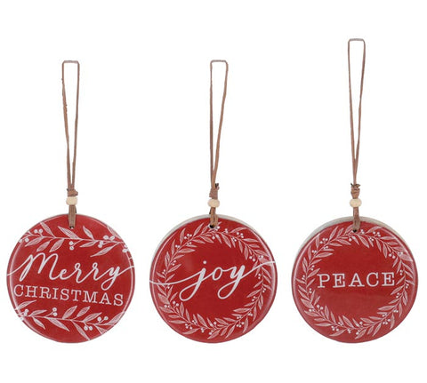 WOOD DISC ASSORTED MESSAGE ORNAMENTS