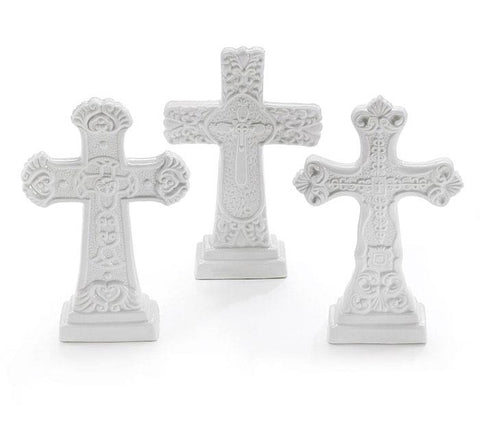 FIGURINE WHITE EMBOSSED CROSS