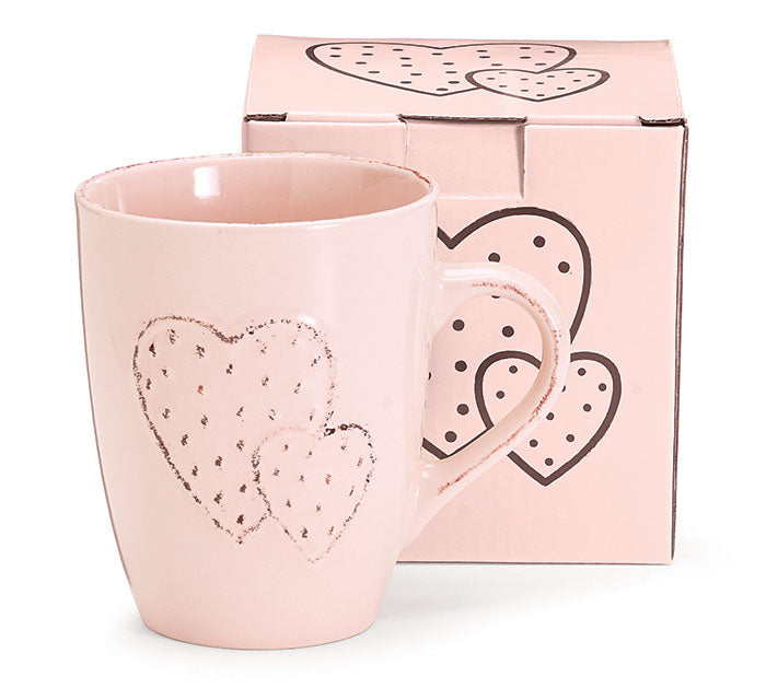 PINK EMBOSSED MUG WITH DOUBLE HEARTS