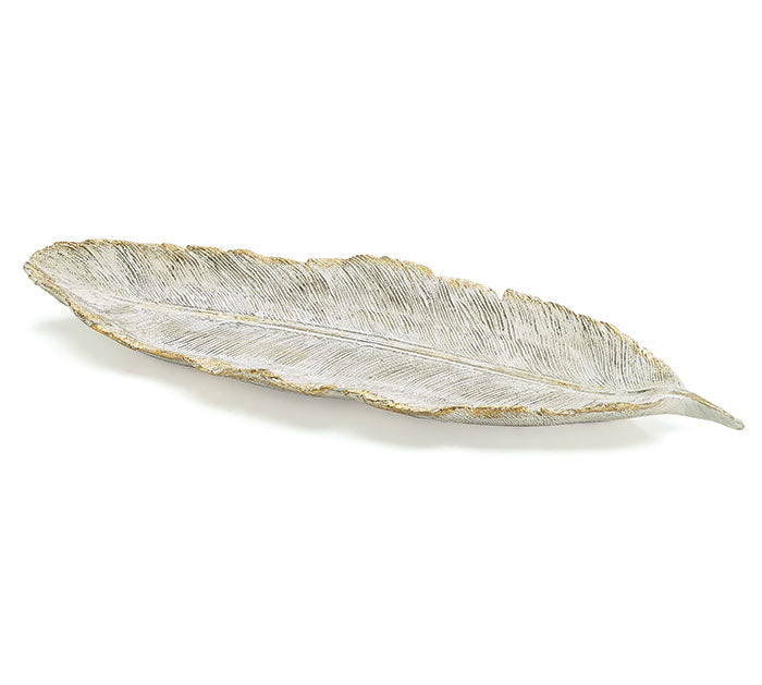 RESIN WHITE/GOLD LEAF SHAPED PLATE