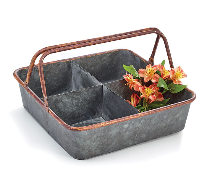 METAL SECTION TRAY WITH HANDLE
