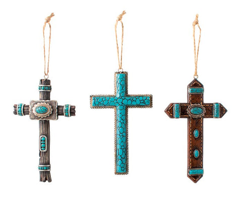 BROWN RESIN AND TURQUOISE ORNAMENTS