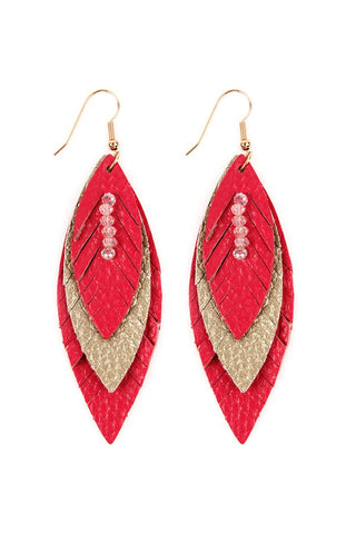 THREE LAYER FRINGED LEATHER MARQUISE EARRINGS