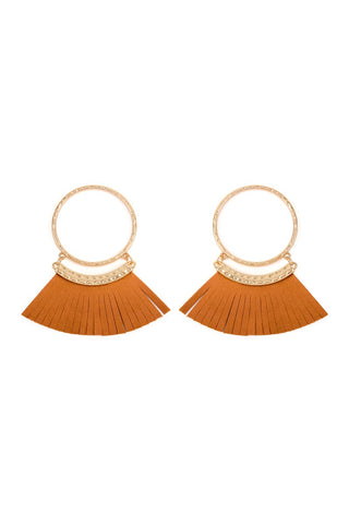 HOOP WITH DANGLING FRINGE LEATHER EARRINGS