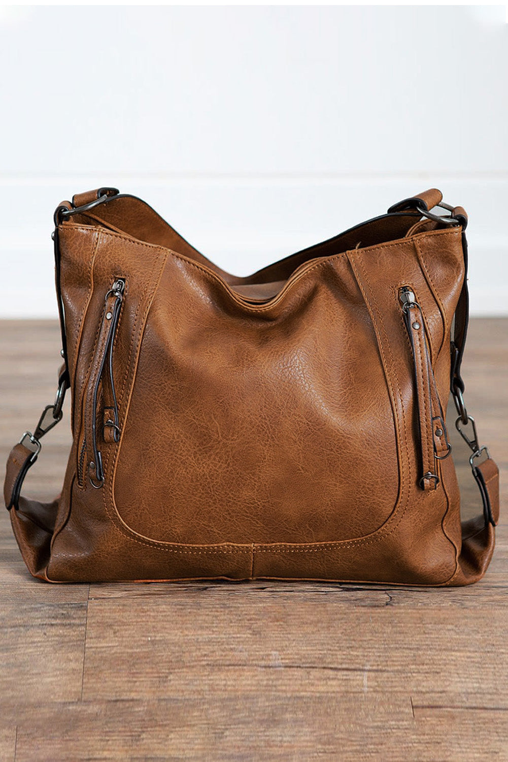 Brown Faux Leather Handbag
