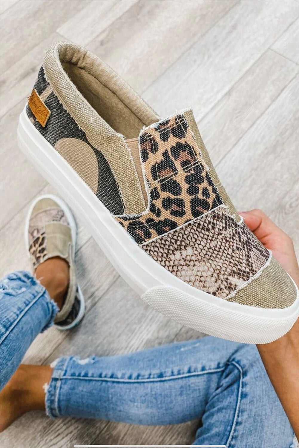 Snake Leopard Mixed Slip-on Canvas Shoes
