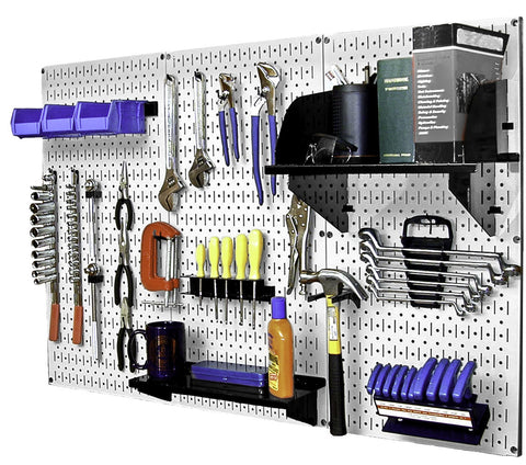 4' Metal Pegboard Standard Tool Organizer Kit with Accessories - White/Black