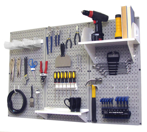 4' Metal Pegboard Standard Tool Organizer Kit with Accessories - Gray/White