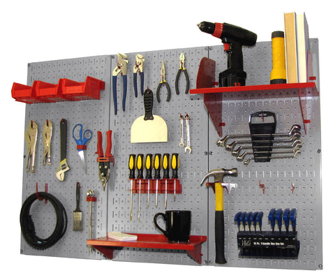 4' Metal Pegboard Standard Tool Organizer Kit with Accessories - Gray/Red